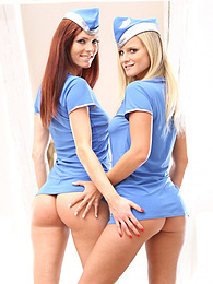 Marry Queen & Eileen Sure are Pussy Hungry Air Hostesses pictures at find-best-panties.com