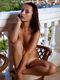 The cold breeze rushes through her pink pussy as she spreads those long legs on the balcony for you to see pictures