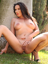 Sexy Milf Noemi Has a Threeway With Two Hard Cocks Outside pictures at kilopics.com