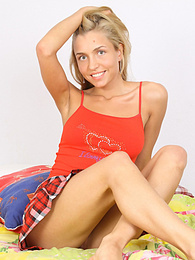 Pretty blonde teen spreads her naked pussy on the bed pictures at dailyadult.info