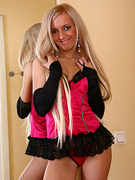 Sexy blonde babe flashing tits and pussy in stockings pictures at kilogirls.com