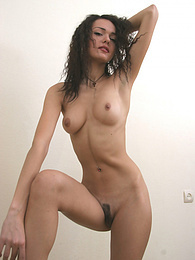 Sweet brunette chick shows nice hairy pussy pictures