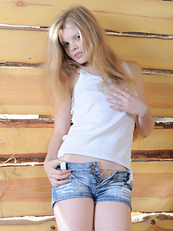 Perfect teen cutie strips nude in the barn to demonstrate her lovely petite body on camera. pictures at kilomatures.com