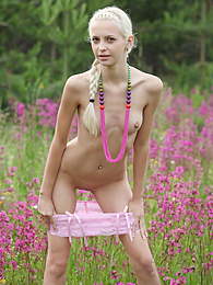 Nice blond teenie with a petite body playfully poses in the nude among the wild flowers. pictures