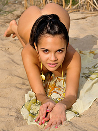 Alluring teen cutie poses naked on a rushy bank and bends over to show her shaven holes. pictures at kilogirls.com