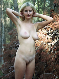 Will you let this beauty girl with luscious parts make you hot and horny with a nice show in the forest? pictures at find-best-lingerie.com