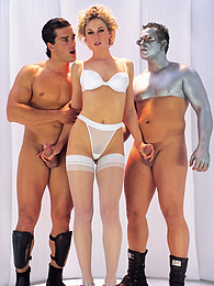 Cock Hungry Superstar Lynn Stone Has a Futuristic Threeway pictures at freekiloclips.com