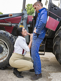 Posh Girl Emma Leigh Takes a Big Farmer�s Cock for a Ride pictures at freekiloclips.com