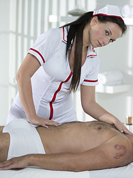 Naughty Natalee Nurses a Hard Cock With Some Smooth Wrist Work pictures at freekilomovies.com