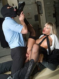 Gorgeous big boobed blonde in uniform satisfies two cocks pictures