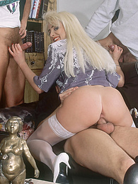 Platinum blonde in stockings is gangbanged in the library pictures at find-best-hardcore.com