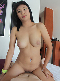 Big tit Thai stunner shows off hot body and loses her white-cock cherry pictures at freekilosex.com
