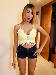 Skinny Thai honey offers mouth and squishy tight doggiestyle to white traveller pictures at lingerie-mania.com