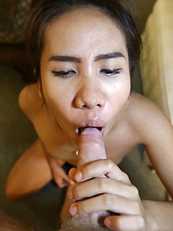 Cute Thai babe in braces fucks traveler with panties on and off pictures