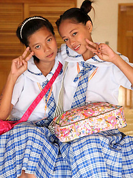 Asian Lesbian school girls team up on my lucky cock pictures at kilogirls.com