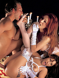 Elizabeth X & Mia Domore in Lingerie play with a hard cock pictures at freekiloporn.com