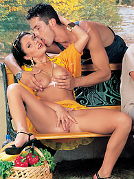 Stunning Brunette Lina Gets a Scorching DP on a Park Bench pictures at find-best-mature.com