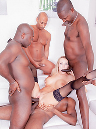 It Takes Four Studs to satisfy this happy Blonde Nympho pictures at freekilosex.com