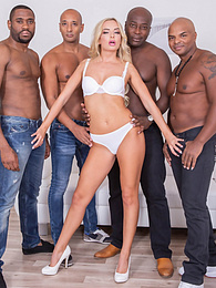 Perfect Horny Blonde Has a Great Time With Four Stallions pictures