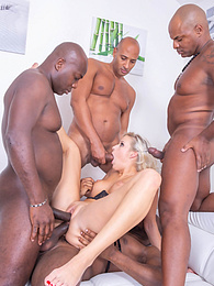 Sophisticated Blonde Nympho Takes on 4 Studs and gets fucked pictures at freekilosex.com
