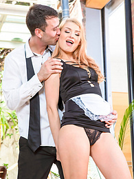 Lucy Heart, hot blonde maid in lingerie has some fun pictures