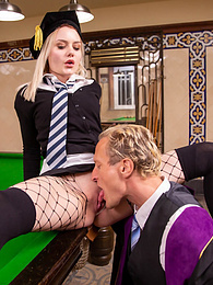 Scarlett Knight Fucks teacher on Pool Table in uniform pictures at freekilomovies.com