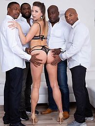 Elegant Paulina Soul debuts in hardcore interracial gangbang pictures at freekilomovies.com