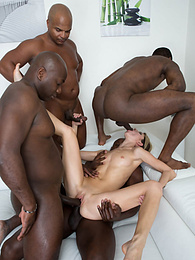 Petite Gina Gerson in hardcore interracial gangbang at work pictures at freekilomovies.com