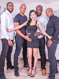 Nicole Love enjoys interracial gangbang and gets loads of cum pictures at freekilosex.com