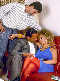Blonde in red stockings Julia covered in two guys' cum pictures at find-best-tits.com