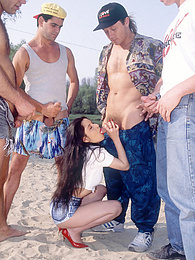 Timea, Lonely Girl, takes on four guys in outdoor gangbang pictures at freekiloporn.com