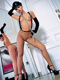 Hot pornstar Cristina Bella in fishnet loves anal hardcore pictures at freekilosex.com