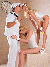 Two hot blondes know how to handle balls in the tennis court pictures at dailyadult.info