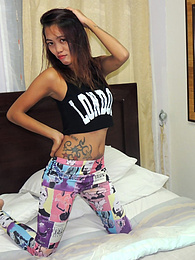 Skinny tattooed Pinay throats white dick and receives facial pictures