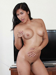 Filipina-American babe Mia chows down on white cock pictures at freekilomovies.com