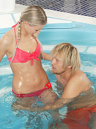 Sweet blonde chick sucking cock in pool pics