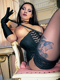 Tattooed leather fetish slut Patty Brandon in femdom games pictures at kilopills.com
