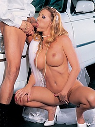 Sexy blonde blowjobs the limo's driver on her wedding day pictures