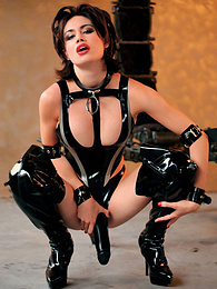 Mercedes gets loads of cum over her shinny latex lingerie pictures at freekilomovies.com