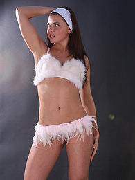 Sexy brunette in cute white lingerie pictures at kilovideos.com