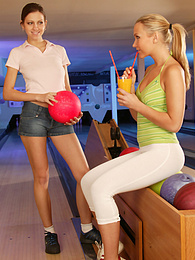 Hot lesbian action at the bowling alley pictures at find-best-panties.com