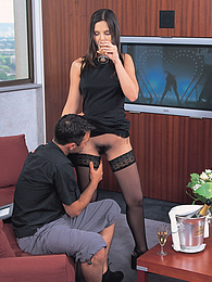 Hot Brunette Eve Angel Devours Paris and Two Juicy Cocks pictures at freekiloclips.com