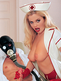 Alicia Rodhes, fetish nurse in latex lingerie gives blowjob pictures at kilomatures.com