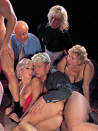 Betty Love & Melinda, Orgy On the Catwalk Ends with a Facial pictures at find-best-mature.com