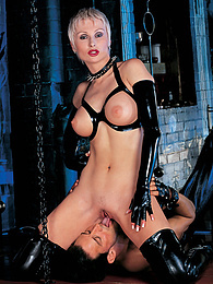 Fetish Anoushka in Latex Lingerie Swallows her Slaves' Cum pictures at find-best-panties.com