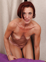 Older mature redhead amateur Stella Banks gets her pussy thrashed pictures at find-best-panties.com