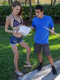 Skinny teen Kyler Quinn rides his dick outside on the lounge chair pictures at freekilosex.com