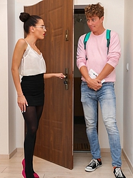 Italian babe Eveline Dellai gets her pussy pounded by her language student pictures at kilopics.net