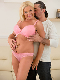 Busty blonde housewife Carolina Carla gets her older pussy pounded pictures at freekilomovies.com