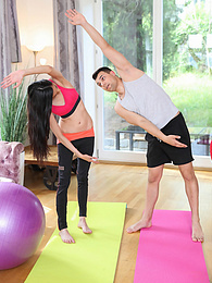 Tall brunette babe Ashley Ocean gets fucked hard by her yoga instructor pictures at freekilomovies.com